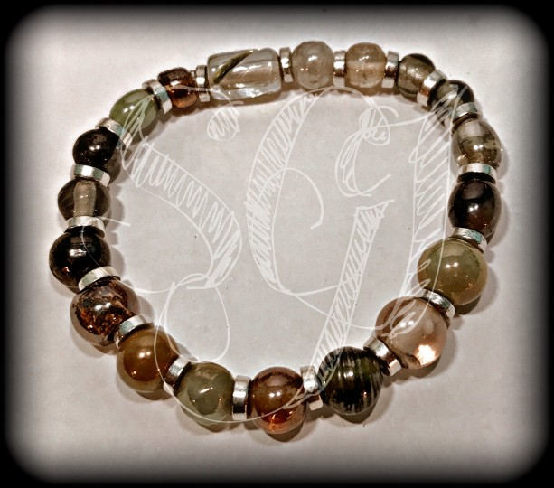 Ceramic, Iridescent Beaded Stretchy Bracelet