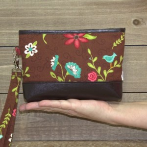 Wristlet Wallet, Samsung Galaxy Note, iPhone 7 Plus Crossbody, Galaxy S6 S7 Edge, Cell Phone Wallet Purse or Clutch / Aqua Pink Brown