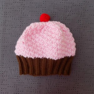 Toddler Knit Cupcake Hat - Pink