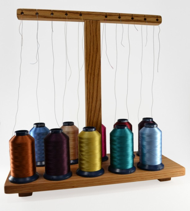 Handcrafted Thread Stand Holder For All Embroidery Sewing Machines (Brother, Bernina, Janome, Babylock, Pfaff...) - Holds 10 Spools Or Cones