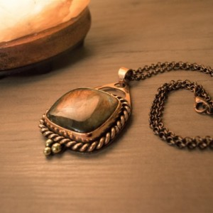 Purple Flash Labradorite Copper Brass Pendant Amulet Necklace Handmade