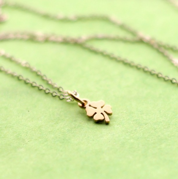 Tiny Gold Four Leaf Clover Pendant Necklace
