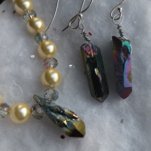 Shell Pearl & AB Raw Quartz Crystal Necklace & Earring Set ~ Sterling