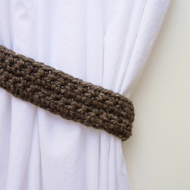 One Pair of Taupe Gray Brown Tweed Curtain Tie Backs, Drapery Tiebacks for Drapes, Simple, Basic Thick Crochet Knit, Ready to Ship in 3 Days