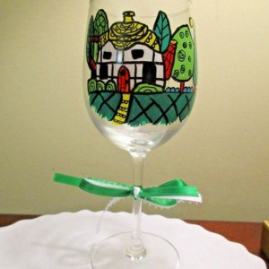 Hand Painted Wine Glass Folk Art English Cottage Tea Pot Shaped 12 oz.