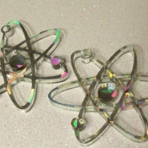 Atom charms, science charms,HOLOGRAPHIC, laser cut charms