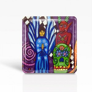 "Mexican Folk Art- Day of the Dead, Angel & Devil- Glass MAGNET By Artist A.V.Apostle- 2""x 2"""