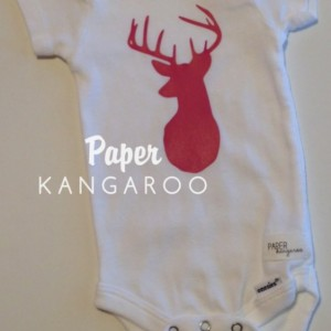 Hot Pink Deer Snap Bodysuit, 3-6 months, Ready to Ship