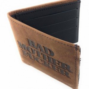 Basic Bifold Wallet, Mature, Bad Mother F*cker, Mens Genuine Leather, Leather, Leather Bifold Wallet, Made in USA, Bifold Leather Wallet
