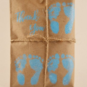 10 Triplet Baby Shower Favors. Blue and Kraft Paper Favors. Fresh Roasted Coffee Favors. Embossed Favors. Handmade. Thank You