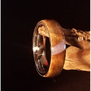 Size.. 7 1/2 Stainless Steel mixed wood and resin ring, browns, blues, and tans,.comfort fit, 5mm width of band ..