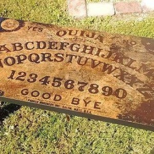 Custom Made Ouija Board Spirit Board Coffee Table Haunted House Black, Antiqued Gothic Wiccan Halloween Decor