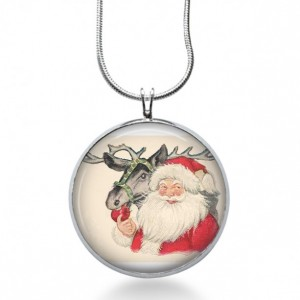 Santa with Reindeer Necklace - Christmas Jewelry - Holiday Pendant - Rudolph