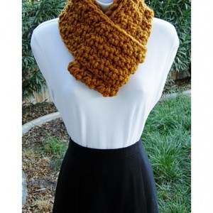 INFINITY SCARF Loop Cowl Butterscotch Dark Yellow Orange, Color Options, Bulky Chunky Soft Wool Blend Crochet Knit Circle..Ready to Ship in 3 Days