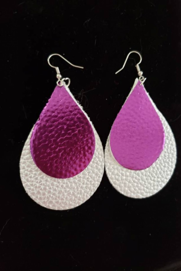 Silver and purple faux leather nickel free earrings