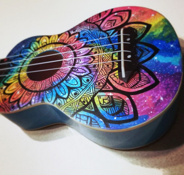 Concert Rainbow Galaxy Mandala Ukulele, Hand Painted Ukulele, Decorated guitar, Rainbow Ukulele,instrument, soprano, tenor, baritone, guitar