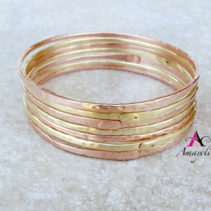 Set of THREE Brass bangle bracelets. Stacking bracelet. Charm bracelet. Gold bangles.