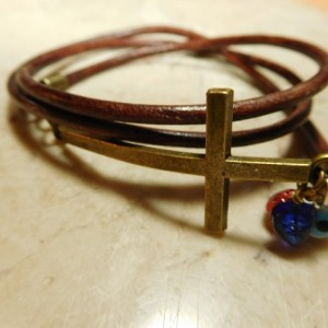 Brown leather wrap bracelet with bronze tone Cross and charms, hearts and evil eye #B00235