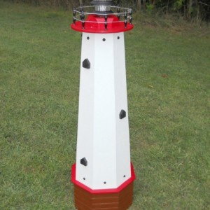 """48"""" Solar lighthouse wooden well pump cover decorative garden ornament - red accents"""