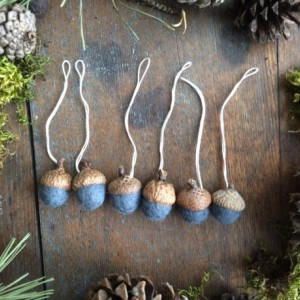 Wool acorn Christmas ornaments, set of 6, Slate Blue, miniature Christmas ornaments for holiday decor, blue felt wool acorns, gifts under 35