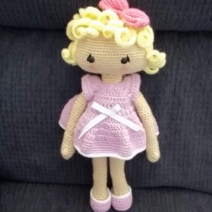 18 inch Veronica, Nicole or Anne Dress Me Up Doll - Crocheted Doll Clothes -Dress and Shoes – Pastel Lilac