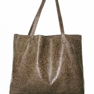 Brown Embossed Leather Shoulder Bag, large leather tote bag, women's oversized carryall