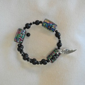 Unity in Trinity™ Gratitude Bracelet of Black Glass Beads with Wing
