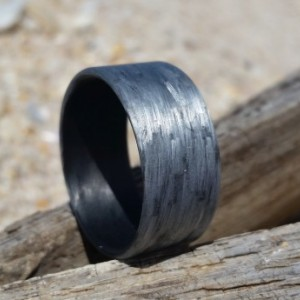 Texalium Silver ring with Black Carbon inside