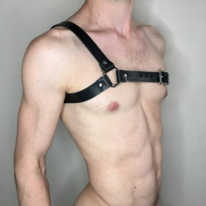 "Asymmetrical 1"" Black Leather Harness"