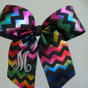 Chevron Monogrammed Personalized Initial Foil Metallic Hair Bow