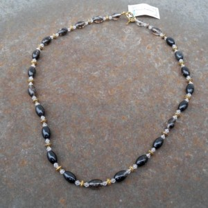 Necklace-Black/Clear Tourmaline, Clear Crystal, Gold Beads
