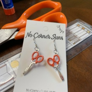Art Teacher earrings - Fiskers orange handle scissors- free shipping