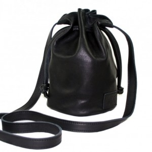 Black Leather Ditty Bag, leather crossbody, women's bucket bag