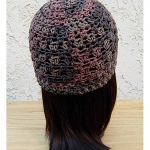 Dark Brown & Rust 100% Cotton Lacy Summer Beanie, Women's, Men's Lightweight Hat, Chemo Cap, Crochet Knit Lace Skullcap, Ships in 3 Biz Days