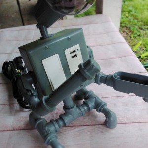 Industrial Style Robot Lamp/ Phone Charger/ USB/ Standard Outlet
