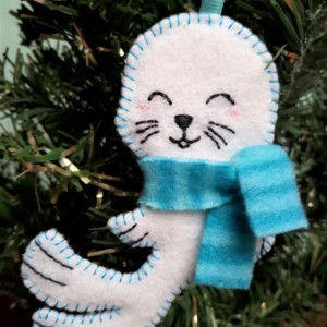 Christmas Tree Ornament, Felt Seal Holiday Decoration