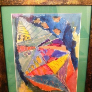 Abstract Leaf Painting in Bronzed Frame