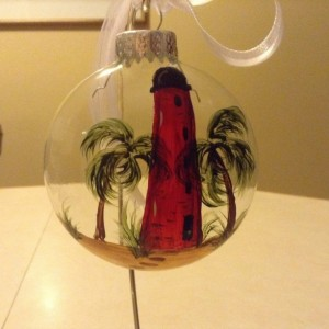 Ornament,  glass,  Ponce Inlet lighthouse, hand painted