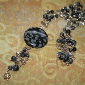 Snowflake Obsidian Bead and Silver Crystal Tassel Necklace