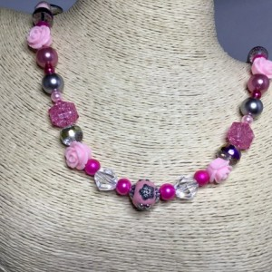Pink floral beaded necklace and earring set