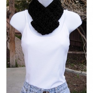 Women's Solid Black SUMMER SCARF Small Infinity Loop Soft Lightweight Crochet Knit Endless Circle Short Skinny Cowl, Ready to Ship in 3 days