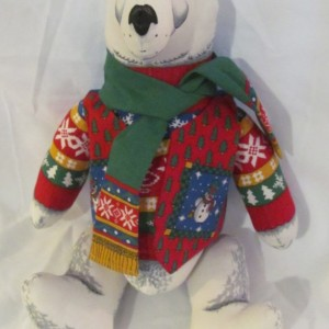 Handmade Stuffed Polar Bear in Christmas clothing