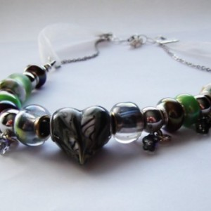 Euro Beaded Green  Glass Heart Leather Organza Ribbon Stainless Steel Chain Necklace