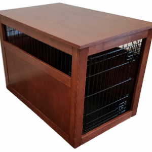 Small Partially Enclosed Side Wooden Cover for Wire Crate for Dog. Puppy, or Cat, End Table, Night Stand, Made in USA, Choice of Stain