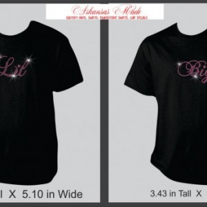 Big lil sorority sisters custom rhinesetone shirts. Pair of two. Many colors to choose