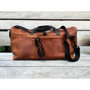 Brown Leather Roll-Top Duffle Bag