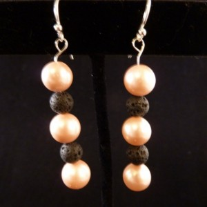 Pink Freshwater Pearls with Lava Beads Earrings