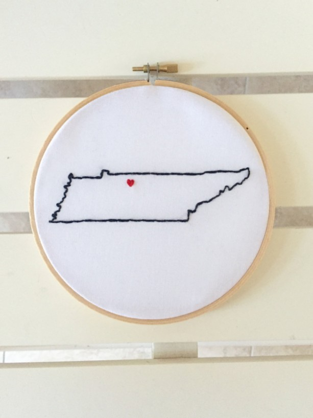 Custom Tennessee Embroidery Hoop Art Wall Hanging