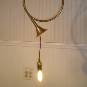 Repurposed Solid Brass French Horn Swag Lamp OOAK Shipping is FREE to U S Zip codes Made with vintage style Twisted Cloth Wire