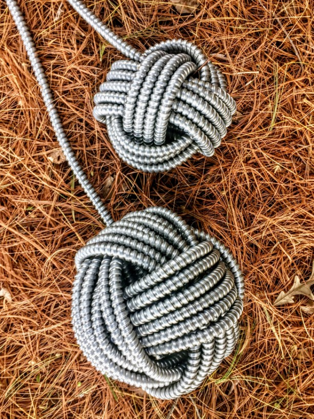 LARGE ALUMINIUM MONKEY FIST KNOTS BY JEFFERY WEATHERFORD